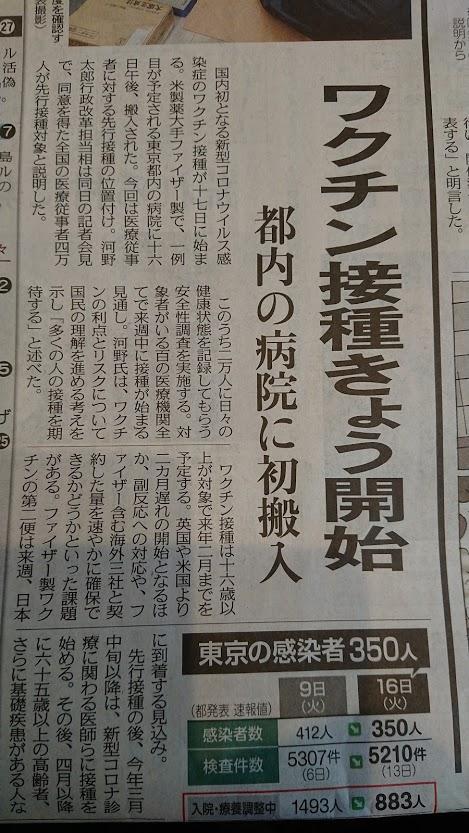 ワクチン接種新聞記事